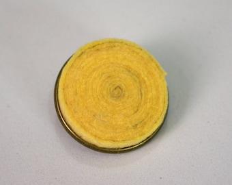 Handmade felt pin brooch base metal bronze and yellow spiral