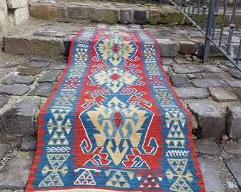 Free Shipping 2.6' x 7.8' handmade kilim rug hand knotted  unique color red rug runner rug turkish rug hallway rug