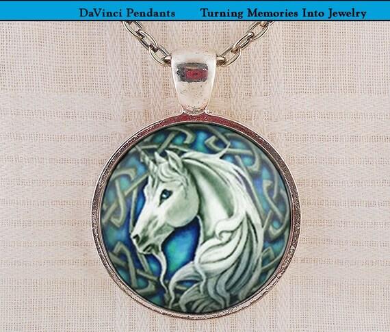 Celtic unicorn pendant blue unicorn mystical gift real aloadofball Choice Image