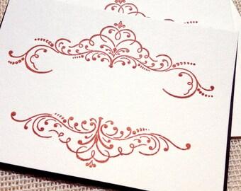 Letterpress Flat Card Set - Decorative Flourish No.04