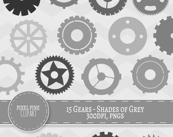 15 Grey Gears, Clipart Shade of gray cogs, 15 PNGs, Commercial Use, Grey Gear Cliparts, steampunk cogs pngs, instant download, scrapbooking