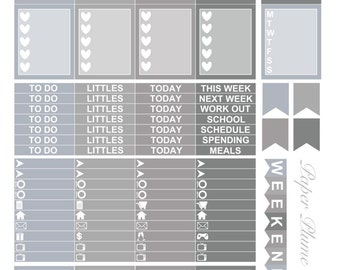 Printable Slate Grayscale Planner Stickers