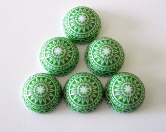 Vintage  Cabochons Etched Mosaic White and Green 12mm.
