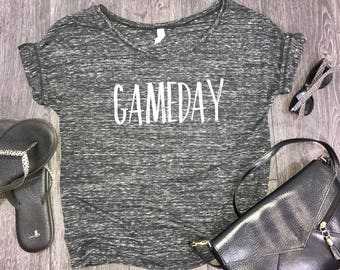 gameday womens slouchy t-shirt, womens tailgate shirt, tailgate shirt for women, womens sports shirt, tailgate party, team mom shirt