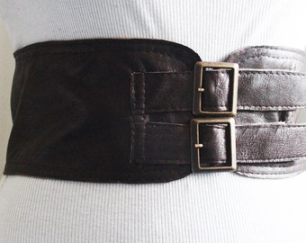 Dark Brown Corset Leather Two Buckle Belt   Brown Belt   Corset Waist Belt   Leather Buckle Belt    Wide Corset Plus Size Belt