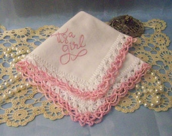 Birth Announcement, Baby Girl Gift, Custom Embroidered, Hand Crochet Handkerchief, Lace Hanky, Baby Announcement, Ready to ship