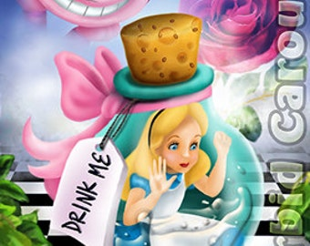 Alice in Wonderland Drink Me Bottle A4 Giclee Art Print