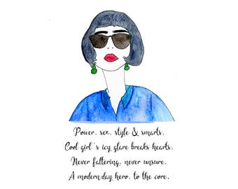 Cool Girl Illustration | Art Print | Poetry & Drawing | Watercolour