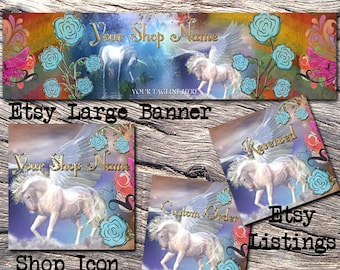 ETSY LARGE COVER Complete Set-Mystical Fantasy Cover Photo-Premade Fantasy Etsy Set-Unicorn Etsy- Large Cover,Rainbow Large Cover, #114