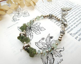 Sensitive Dimensions !!!! : A boho chic urban bracelet made with green apatite and aquamarine ....