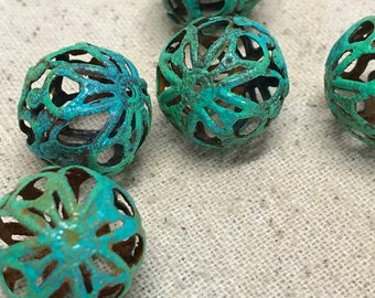 Beads Verdigris Patina 18mm Iron Filigree Beading Supplies Jewelry Supplies Findings Beads Jewelry Supply Embellishment Unique HandPainted