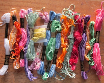 Variegated Embroidery Floss Vintage 19 Pieces.
