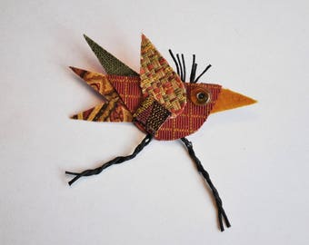 Riley the Bird Brooch, Rust color, Green, Recycled Fabric, Repurposed Textiles, Earth Tones, Whimsical, Pin, Michigan Made