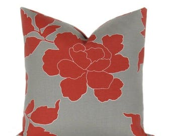 15% Off Sale Pillow.Red.Gray.16x16.Cover.Floral.Home Decor.Housewares. Outdoor Pillow Cover. Robert Allen .Floral. Cushions.Printed fabric b