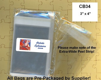 "CB34 - 100 BOPP Cello Bags - 3 x 4 - 3"" x 4""  Crystal Clear - Retail Packaging, Storage, Organizing - Amazing Qty Discount"