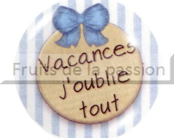 1 cabochon 25mm round glass vacation, beach, blue