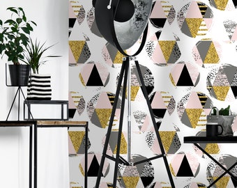 Removable Wallpaper Self Adhesive Wallpaper Gold and Gray Geometric Triangles Peel & Stick Wallpaper
