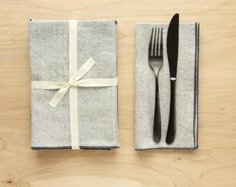 Set of 4 Linen + Cotton Dinner Napkins - Linen with Slate Gray