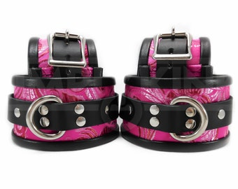 BDSM Leather Cuff Set Wrist and Ankle Cuff Set with Optional Blindfold or Collar in Brocade Pink