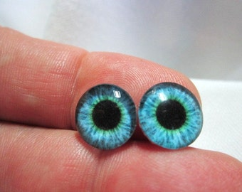 Glass eyes for jewelry or sculpture 12mm cabochons
