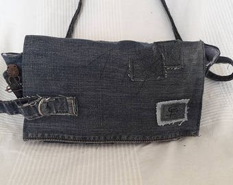 cotton and recycled denim shoulder bag