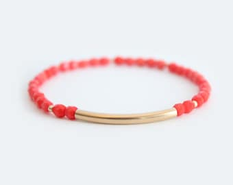 Coral Beaded Bar Bracelet - Gold Filled or Sterling Silver - Nuelle