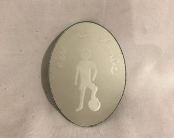 Old door room boy football engraved mirror