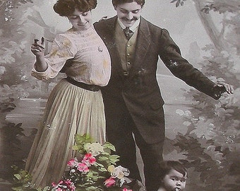 1900s French postcard, Cabbage patch BABY with parents, real photo,  RPPC paper ephemera.