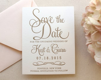 The Hydrangea Suite - Letterpress Wedding Save the Date - Gold, White, Blush, Pink, Modern, Traditional, Simple, Invitation, Classic, Script