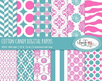 50%OFF Cotton Candy digital paper, damask digital paper, zebra digital paper, stripe digital paper, scrapbook paper, commercial use paper, P