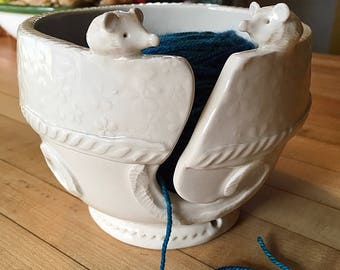 Choose a Yarn Bowl - wide base, indented rim, 3 yarn feeds. Strong and Lovable