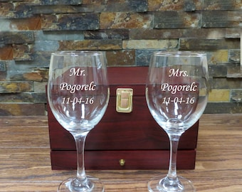 Mr. and Mrs. Personalized Wine Glass Set with Box- Wedding Gift- Reception, House Warming Gift