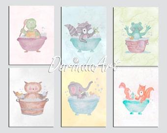 Sale Bathroom animal decor Watercolor Bathroom art Set of 6 Prints Bathroom decor Nursery bathroom Baby boy Baby Girl Bathroom Wall art 5x7