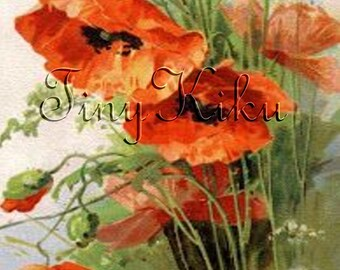 ORANGE POPPIES Fabric Block. Vintage Print on Fabric.  Applique, Quilting, Sewing, Crafting.