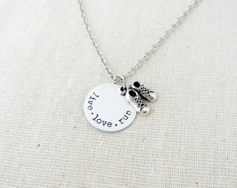 Live Love Run - Hand Stamped Silver Necklace with Sneakers Charm