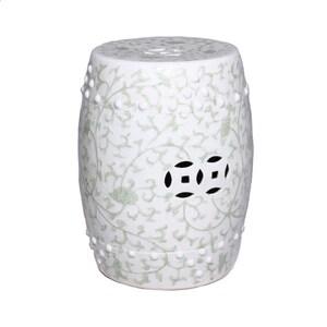 ceramic garden seat. green celadon chinese porcelain handmade garden stool seat - twisted lotus motif ceramic r