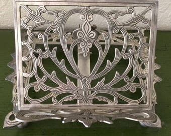 Vintage Silver Metal Book Stand With Dragons