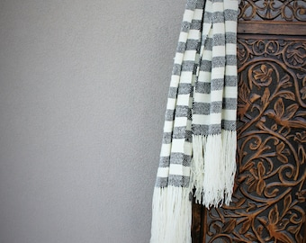 Handwoven blanket - Shawl - Plaid - Black White - Striped bed throw - Home decor - Boho style - Woven Bedding - Easter day gift