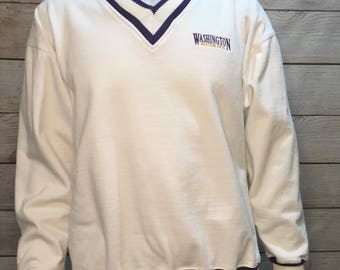 Vintage University of Washington Huskies Sweater UW Huskies V neck Sweater