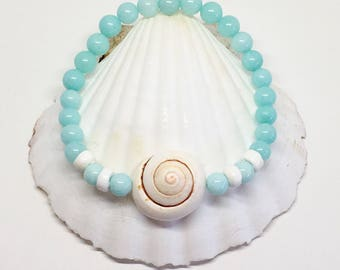 beach jewelry, boho bracelet, aqua mermaid shell jewelry