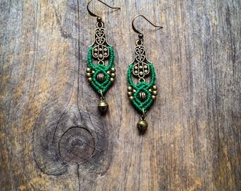 Macrame earrings Fatima Hand hamsa antique brass boho chic earrings bohemian jewelry by Creations Mariposa