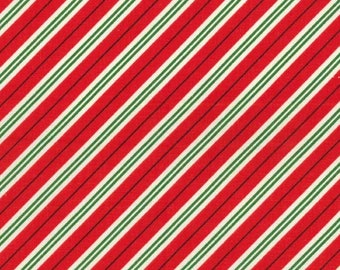 SALE Studio Christmas Mini Candy Cane Stripe Red - Michael Miller - Holiday Red White - Quilting Cotton Fabric - choose your cut