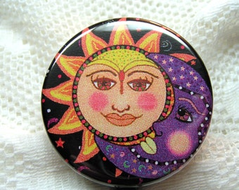 sun and moon retractable id badge holder,gift for star gazer,sun and moon id badge reel,inexpensive present for teacher,id badge clip