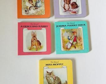 Vintage Beatrix Potter 5 Board Book Set, Nursery Decor, Baby Books, Toddler Books, 1985 Beatrix Potter Book Set