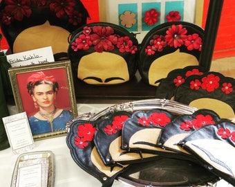 Original Design Leather Frida Kahlo Purse, Handbag, Leather Purse, Made to Order, Mexican Artist, Fridamania