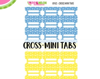 Cross MINI Tab Stickers  | 18 Kiss-Cut Stickers | Planner Tabs, Midori Tabs, Bible Tabs, Divider Tabs, War Binder Tabs | IB162