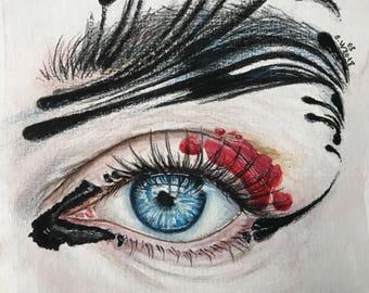Abstract Eye painting,watercolor eye painting,eye make up