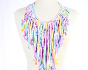 Unicorn Crochet Fringe Necklace - Pastel Rainbow - Statement Necklace
