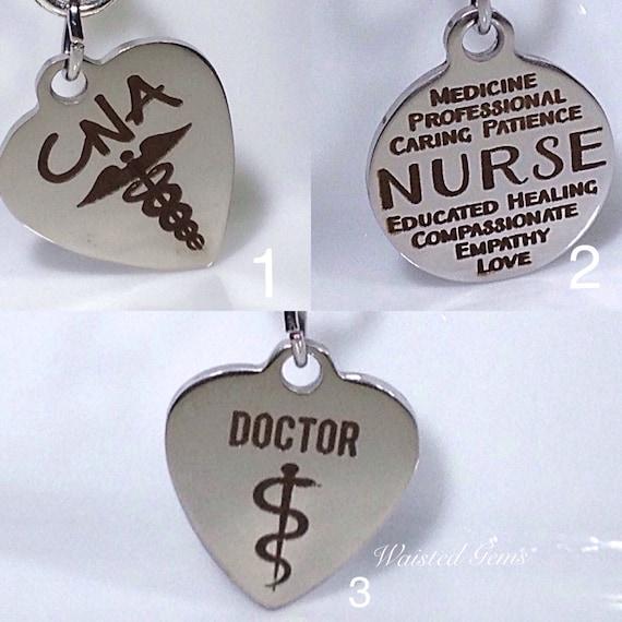 Choice Of - Custom Medical Charm Add-On Initial Charm Necklace, Charm Bracelet,Waistbead Charms  zmw1988-1
