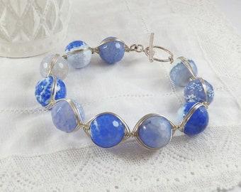 Gemstone Bracelet. Blue Agate Bracelet. Wife Birthday Gift. Chunky Beads. Sterling Silver. SMALL to MEDIUM. Herringbone. Wire Wrap Bracelet